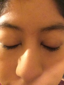 Kyana's lashes before Latisse